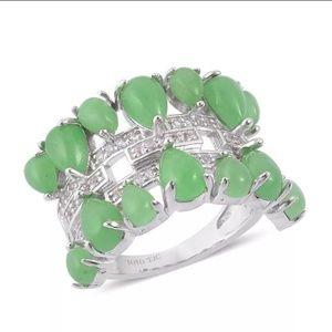 Jade & White Topaz Sterling Silver Ring